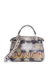Fendi Peekaboo Medium Studded Python Satchel Grey Multi