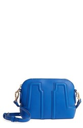 Sole Society Structured Faux Leather Dome Crossbody Blue Colbalt Blue
