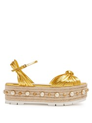 Gucci Pearl Embellished Leather Platform Sandals Gold