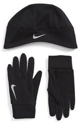 Men's Nike Therma Fit Runner Beanie And Gloves Black Black Silver