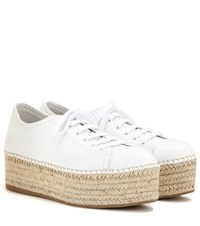 Miu Miu Espadrille Style Platform Leather Sneakers White