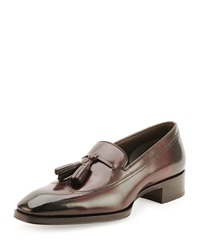Tom Ford Gianni Tassel Front Loafer Cherry