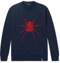 Lanvin Beaded Loopback Cotton Jersey Sweatshirt Navy