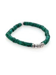 Tateossian Malachite And Sterling Silver Bamboo Bracelet Green