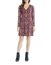 Karen Kane Long Sleeve Fit And Flare Dress Print