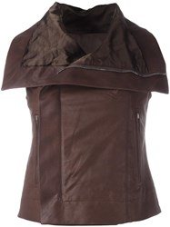 Rick Owens Leather Gilet Brown