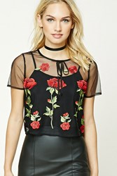 Forever 21 Contemporary Embroidered Floral Mesh Top Black Red