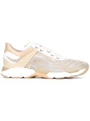 Rene Caovilla Embellished Running Sneakers Nude Neutrals