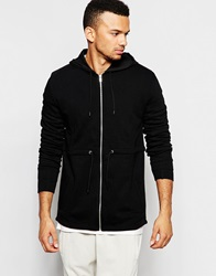 Asos Jersey Parka Jacket With Faux Leather Panel Black