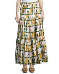 Double J Farfalle Printed Peasant Skirt Green Pattern