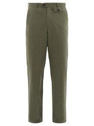 Oliver Spencer Fishtail Linen Blend Trousers Green