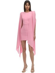 Alex Perry Envers Satin Crepe Mini Dress W Cape Pink