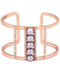 Guess Rose Gold Tone Imitation Pearl And Pave Openwork Cuff Bracelet