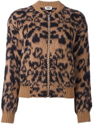 Sonia Rykiel By Animal Print Bomber Jacket Brown