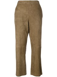 Desa 1972 Suede Cropped Trousers Women Suede 2 Brown