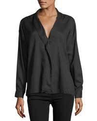 3X1 Moxy Wrap Long Sleeve Cotton Shirt Black