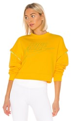 Nike Nk Crop Fleece Crew Gce In Yellow. Amarillo