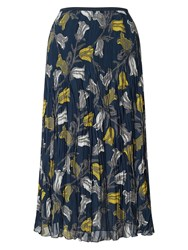 East Tulip Print Pleat Skirt Blue