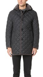 Traditional Weatherwear By Mackintosh Derby Hooded Quilted Flannel Jacket Charcoal