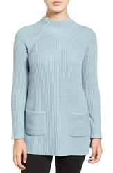 Chaus Women's Two Pocket Mock Neck Tunic Sweater Blue Fog