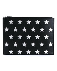 Saint Laurent Star Print Leather Document Case Black Silver White Grey