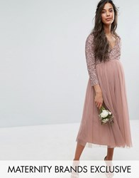 Maya Maternity 3 4 Sleeve Midi Dress With Delicate Sequin And Tulle Skirt Mink Pink