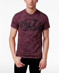 Ring Of Fire Men's Walking Bear Graphic Print Cotton T Shirt Only At Macy's Burgundy