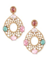 18K Yellow Gold Oval Earrings With Diamonds And Multicolor Tourmaline Bavna Blue