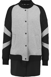 Rebecca Minkoff Tess Convertible Jersey And Quilted Neoprene Jacket Gray
