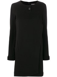Chanel Vintage Ribbed Detail Boxy Dress Black