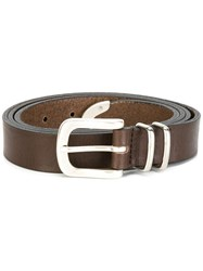 Eleventy Silver Tone Hardware Belt Brown