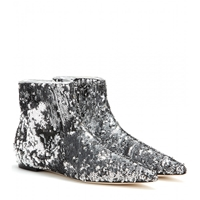 Dolce And Gabbana Sequin Ankle Boots Silver Silver