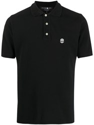 Hydrogen Logo Print Short Sleeved Polo Shirt Black