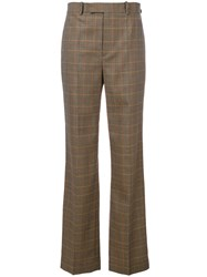 Ralph Lauren Collection Checked Flared Pants Women Wool 6 Nude Neutrals