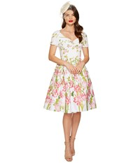 Unique Vintage Short Sleeve Whitman Swing Dress White Floral