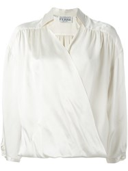 Gianfranco Ferre Vintage Draped Blouse Nude And Neutrals