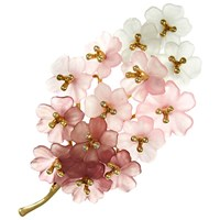 Eclectica Vintage 1970S Gold Plated Resin Floral Brooch Plum Pink