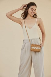Urban Outfitters Straw Structured Crossbody Bag Brown