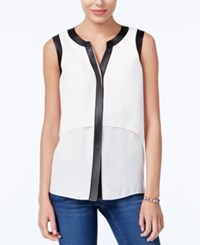 Bar Iii Faux Leather Trim Top Only At Macy's Egret