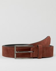Asos Smart Slim Suede Belt In Burgundy Burgundy Red