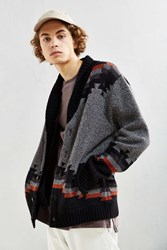 Urban Outfitters Uo Patterned Shawl Cardigan Charcoal