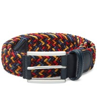 Andersons Anderson's Woven Textile Belt Navy Red And Gold