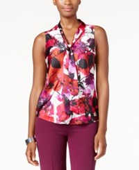 Kasper Printed Tie Neck Blouse Boysenberry