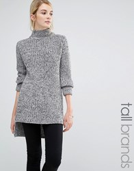 Brave Soul Tall Chunky Knit Jumper With High Neck Grey Black Twist