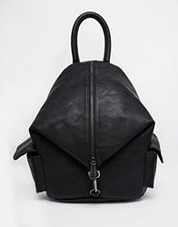 Asos Front Zip Backpack With Dog Clip And Pockets Black