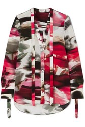 Alexander Mcqueen Pussy Bow Floral Print Silk Crepe De Chine Blouse Red