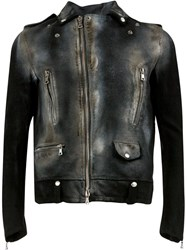 Numero 10 Distressed Biker Jacket Black