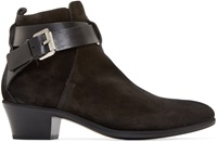 Cnc Costume National Black Suede Buckle Boots