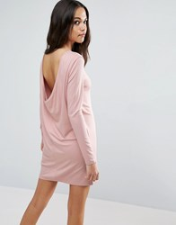 Asos Mini Dress With Cowl Back Misty Rose Pink