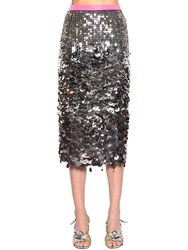 N 21 Color Block Sequined Pencil Midi Skirt Silver